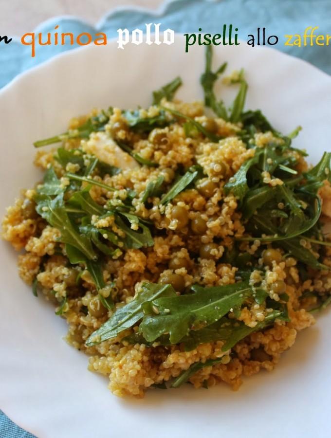 Cous cous quinoa pollo piselli allo zafferano e rughetta