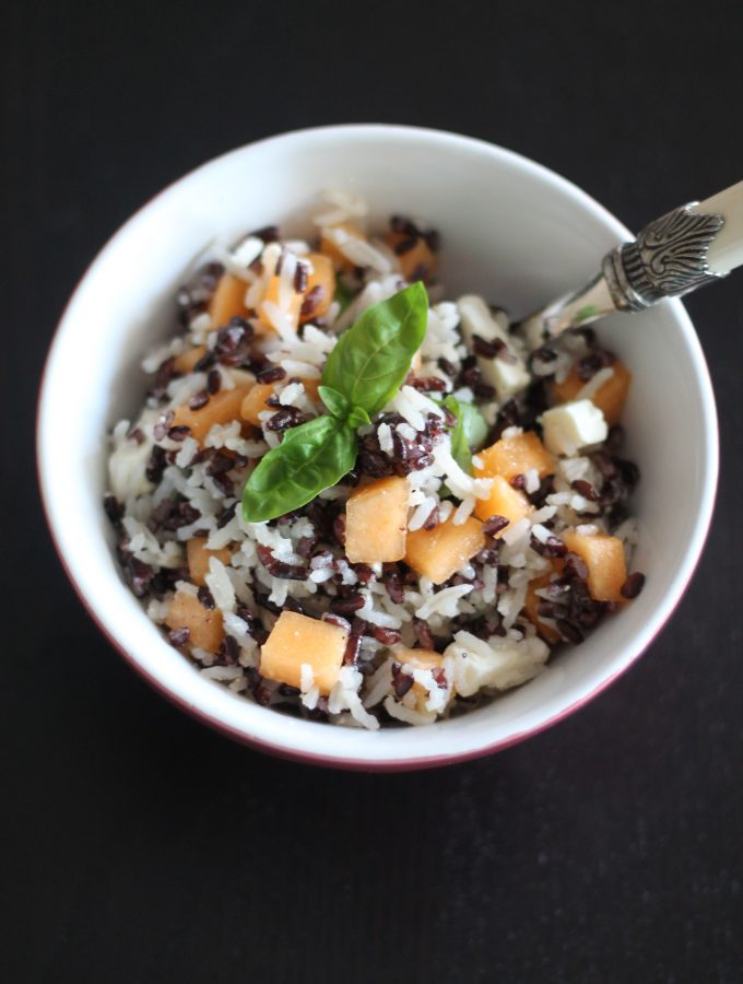 Insalata di riso melone e feta