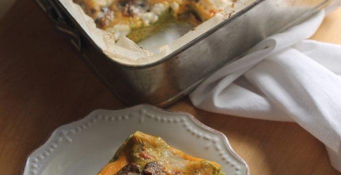 Lasagna verde con crema di zucca e funghi
